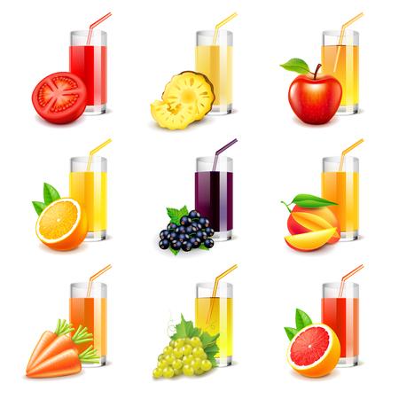 fruit juice: Fruit juice icons detailed photo realistic set