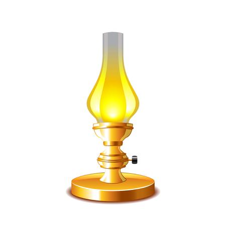 kerosene: Old kerosene lamp isolated on white photo-realistic illustration Illustration