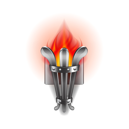 photorealistic: Fire torch isolated on white photo-realistic illustration