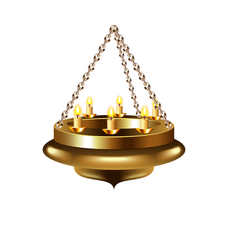 chandelier isolated: Medieval chandelier on chain isolated photo-realistic illustration