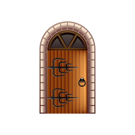 castle door: Old castle door isolated on white photo-realistic illustration Illustration