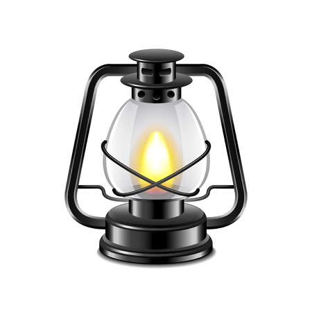 kerosene: Kerosene lamp isolated on white photo-realistic illustration Illustration