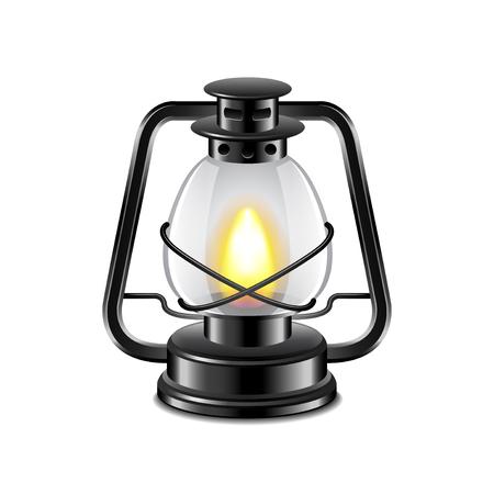 scintillating: Kerosene lamp isolated on white photo-realistic illustration Illustration