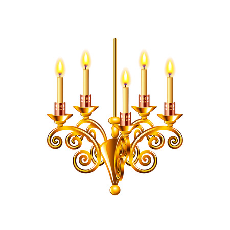 lampshades: Golden chandelier isolated on white photo-realistic illustration