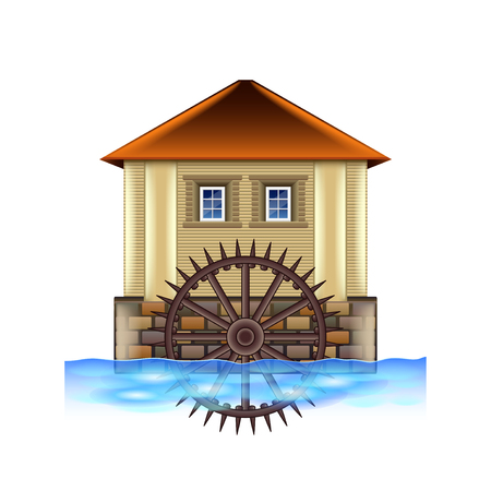 Old water mill isolated on white photo-realistic vector illustration Stock Illustratie