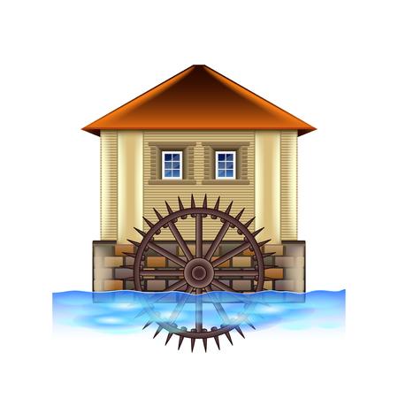 Vecchio mulino ad acqua isolato su bianco foto-realistica illustrazione vettoriale