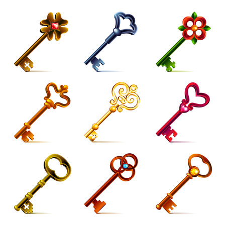old keys: Old keys icons detailed photo realistic vector set