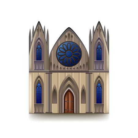 Gothic cathedral isolated on white photo-realistic vector illustration Vektoros illusztráció
