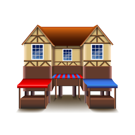 timbered: Medieval building with market isolated on white vector illustration Illustration