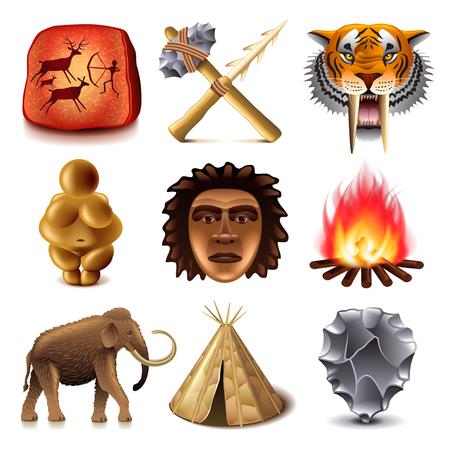 Les hommes préhistoriques icônes photo détaillée vecteur réaliste ensemble
