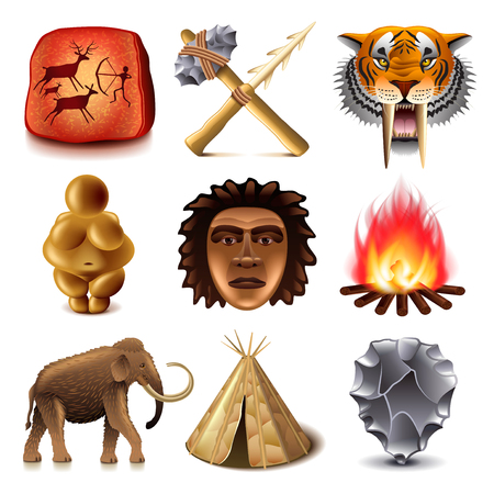 Prehistoric people icons detailed photo realistic vector set