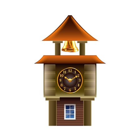 clock tower: Old clock tower isolated on white photo-realistic vector illustration