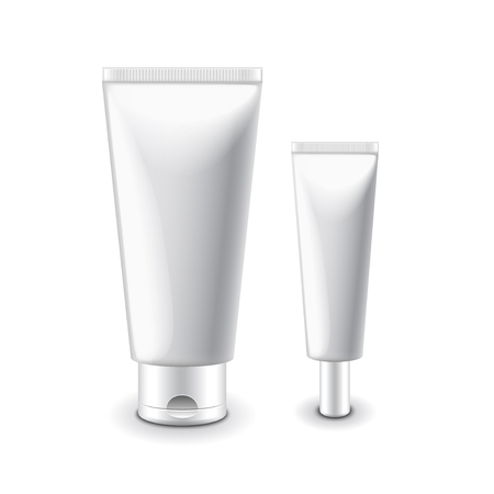 clipart wrinkles: White cosmetic tubes for cream isolated illustration