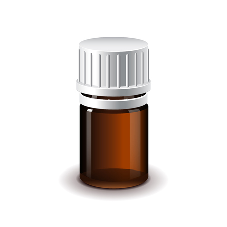analgesics: Small medical dark glass bottle for pills isolated realistic illustration Illustration