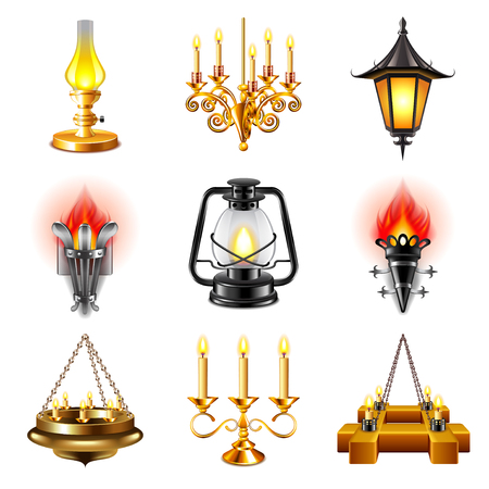 small lamp: Vintage lamps icons detailed photo realistic set