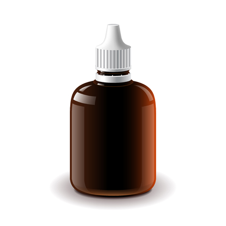 prescription bottles: Medical dark plastic bottle isolated on white photo-realistic illustration