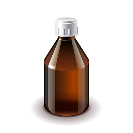 glass bottle: Medical dark glass bottle isolated on white photo-realistic Illustration