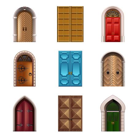 puertas antiguas: Las puertas viejas foto de los iconos conjunto realista detallada Vectores