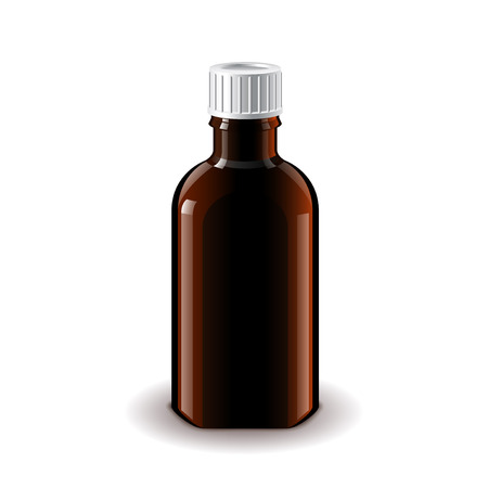 glass bottle: Medical dark glass bottle for balm isolated on white photo-realistic  illustration