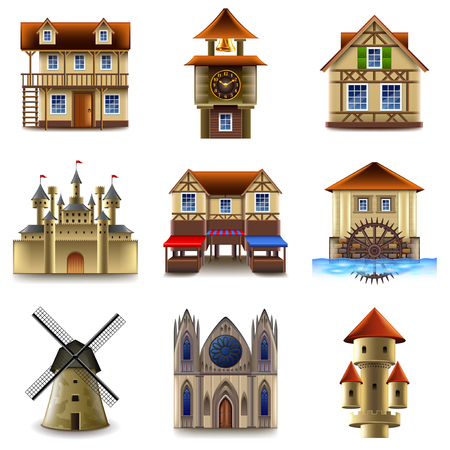 Medieval buildings icons detailed realistic set