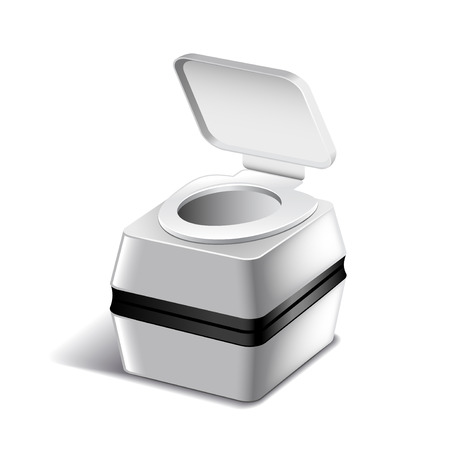 implement: Small bio toilet isolated on white photo-realistic illustration