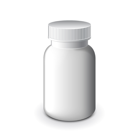 white pills: Medical white plastic bottle for pills isolated on white photo-realistic  illustration
