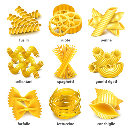 Pasta types icons detailed photo realistic set