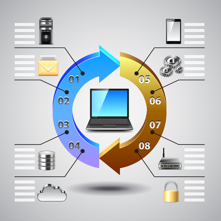 Computer network infographics with laptop and icons vector background