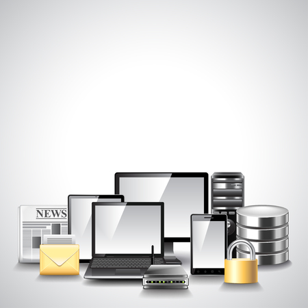 computer devices: Computer network composition from different devices vector background
