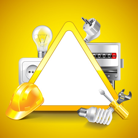 Electricity tools around warning triangle on yellow vector background