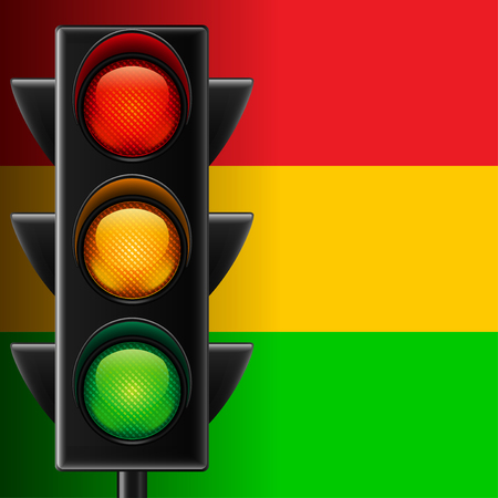 Traffic light on red, yellow and green striped vector background Stock Illustratie