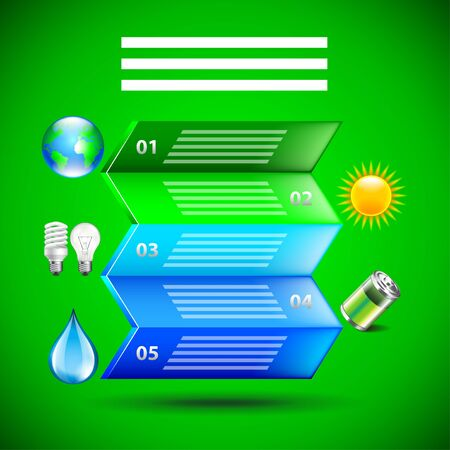 green paper: Environment inforgaphics. Colorful folded paper and ecology icons, green background