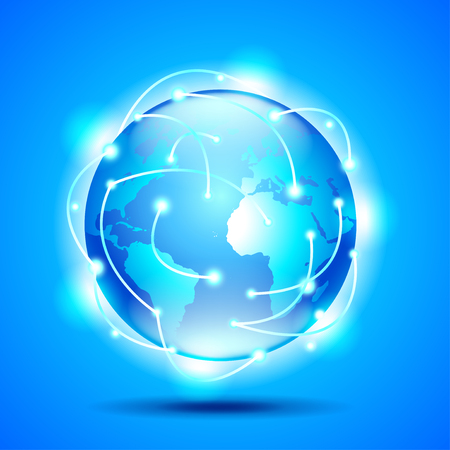 glowing earth: Glowing earth globe on blue background vector background Illustration
