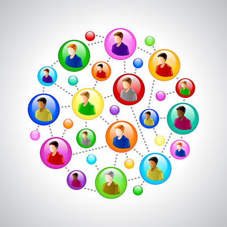 People networking concept with colorful circles vector background