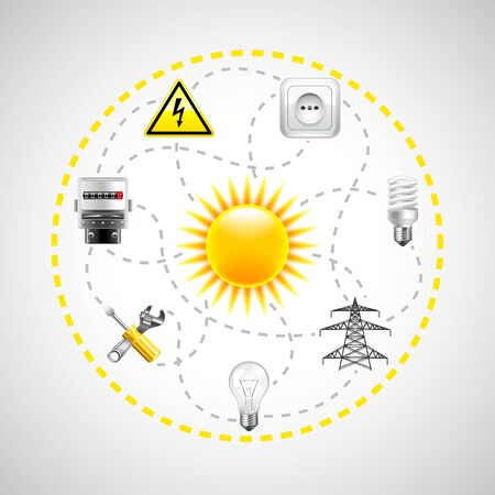 electricity background: Sun and electricity tools, connected with dotted lines vector background Illustration