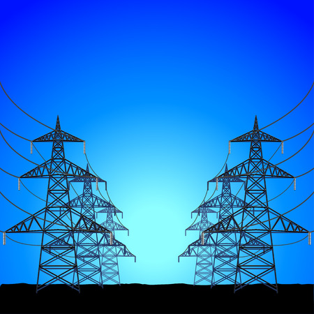High-voltage power towers silhouettes on blue vector background Illustration