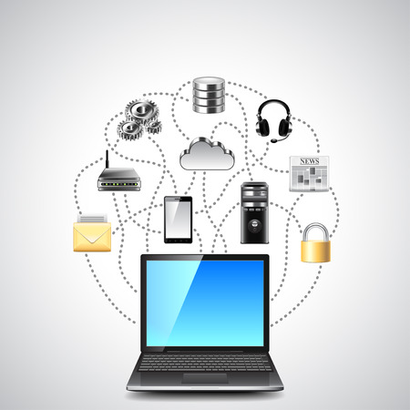 Computer network concept with laptop and colorful connected icons vector background