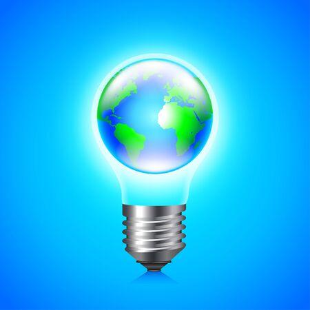 Earth globe inside light bulb environment concept, vector background