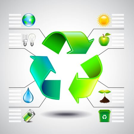 green environment: Environment inforgaphics. Green recycle symbol and ecology icons, vector template