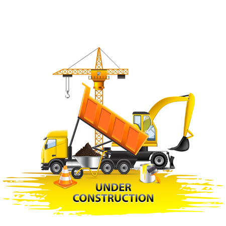 Under construction composition from transport vector background Illustration