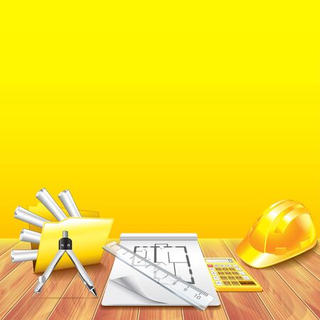 engeneering: Wooden table and engineer tools vector background