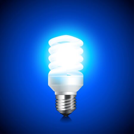 kilowatt: Energy saving light bulb glowing on dark background realistic vector Illustration