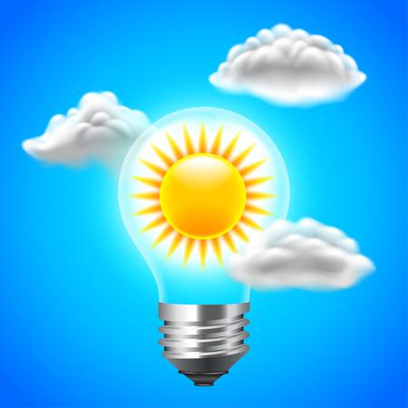 Sun inside light bulb energy concept, blue sky vector background