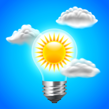 alternativ: Sun inside light bulb energy concept, blue sky vector background