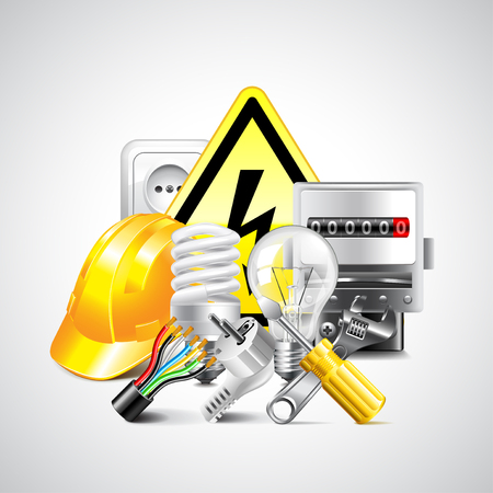 instrumentation: Electricity and energy tools on white vector background