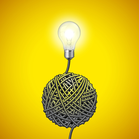 yellow bulb: Light bulb and tangled wire on yellow vector background