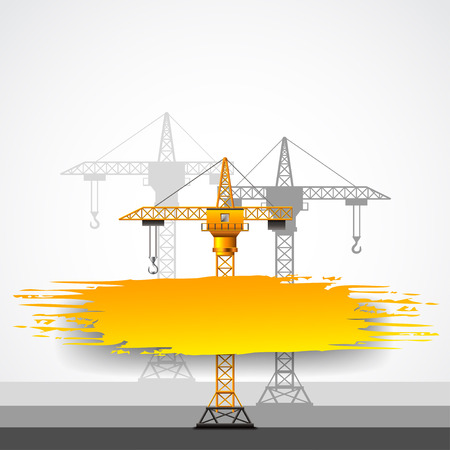 hoist: Construction cranes and grunge place for text vector background