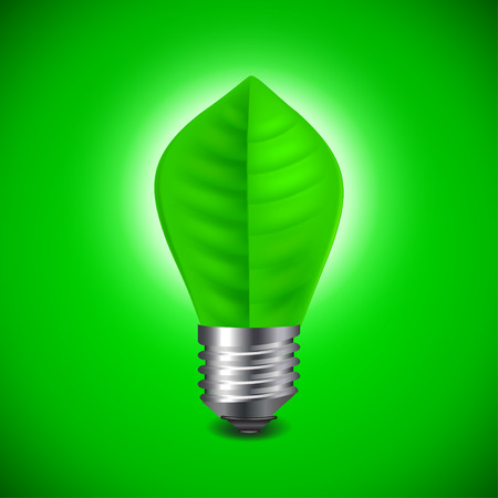 leave: Light bulb from green leave, environment concept vector background Illustration
