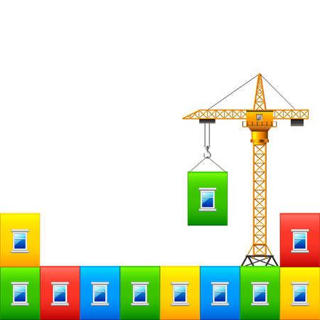 house construction: Construction crane with wall of colorful house vector background