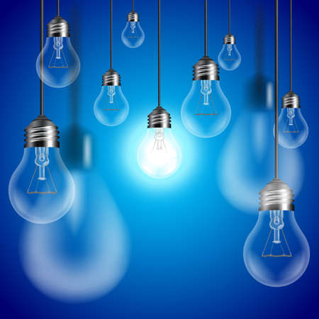 Light bulbs on blue background, central bulb is glowing vector
